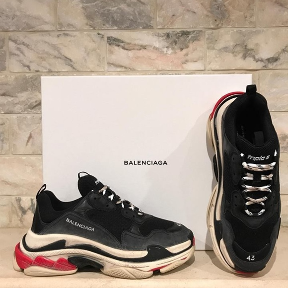 b95788f52d5bd Balenciaga Triple S Sneaker Black Leather Speed